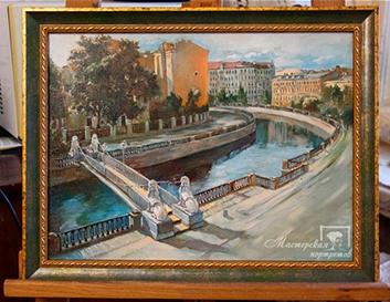 >Картина маслом по фотографии «Вид на львиный мостик»