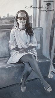Черно-белый портрет маслом